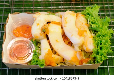 Prepared Sliced Grilled Squid Snack in a Tray