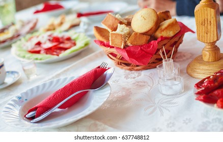 Prepared table for lunch on saint's day in Serbia, traditional orthodox holidays called slava.