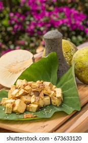 Prepared Ulu ready to be pounded into paiai by traditional Hawaiian methods