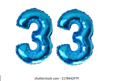 Preparing for 33 years old party with blue shiny inflatable balloons isolated on white background