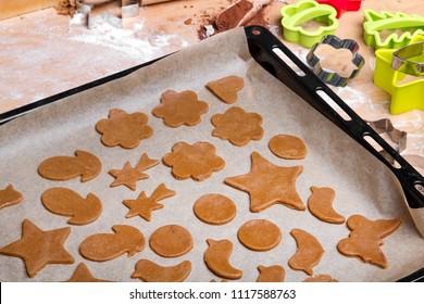 Preparing Christmas gingerbread cookies. Gingerbread dough and cookies ingredients.
