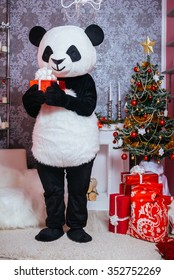 Preparing for Christmas. A man dressed as a panda in the interior of the Christmas room and holding a present