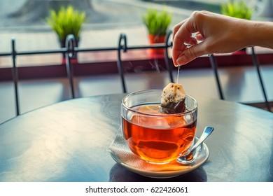 Preparing cup of tea
