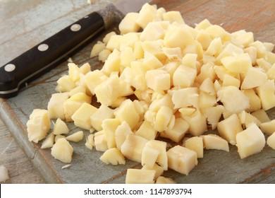 preparing diced parsnips