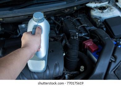 Preparing engine lubricant oil for refill car engine