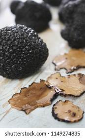 preparing fresh black truffle