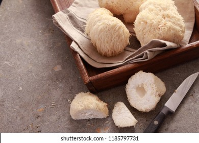 preparing fresh healthy pompom mushrooms