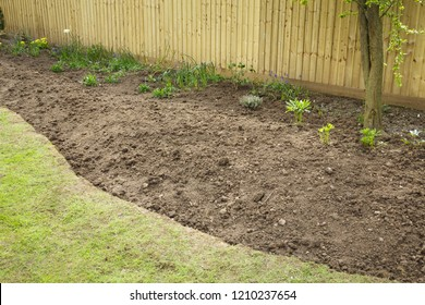 Preparing a garden flowerbed for planting. The flower bed is shown freshly dug and empty