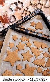 Preparing gingerbread cookies for Christmas. Various cookie shapes