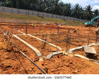 Preparing the ground beam of structure building