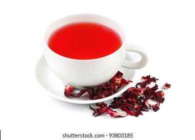 Preparing hibiscus tea on white background