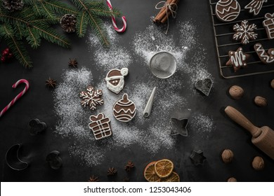 Preparing homemade gingerbread coockies christmas background