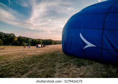 Preparing of hot air balloon at the balloon festival in Bouzov.