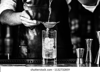 preparing icy cocktail