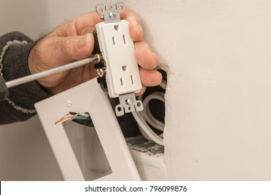 Preparing to install an electrical outlet, checking the fastening of the screws for electrical wires