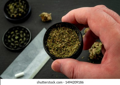 Preparing a joint and drug paraphernalia concept theme with man using a herb girder to grind a cannabis bud and roll marijuana joints, next to rolling paper and weed buds isolated on dark background
