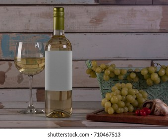 Preparing for a meal with white wine on country house scene, in Mexico