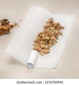 Preparing a medical cannabis joint with tobacco and rolling paper with marijuana bud on white background. Cannabis close up
