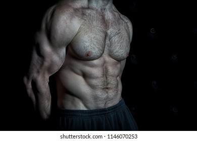 Preparing muscles for actions. Torso with six packs looks attractive on black background. Muscular torso huge muscles result of exhausting trainings and proper nutrition. Achieve muscular torso tips.
