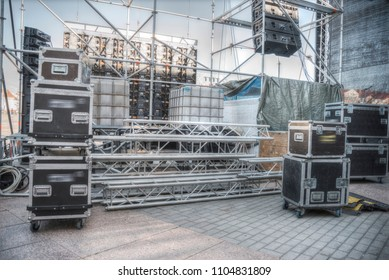 Preparing an open-air stage for a concert