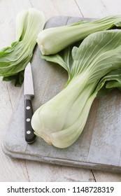 preparing pac choi vegetable