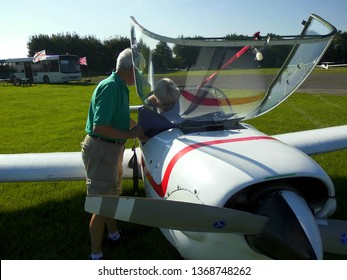 Preparing a passenger for Gliding at the Wolds Gliding Club, Pocklington, East Riding of Yorkshire, England 14 th of May  2017