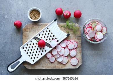 Preparing pickled radishes.Top view