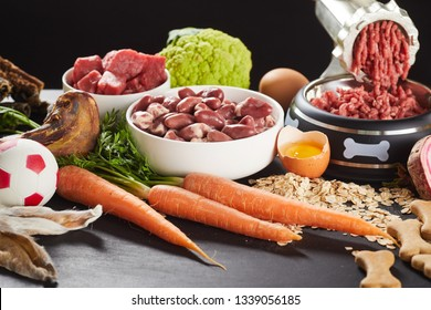 Preparing raw barf food for a pet dog or cat mincing offal, beef organs and poultry with assorted vegetables, oats and egg yolks to serve with biscuits and a bone