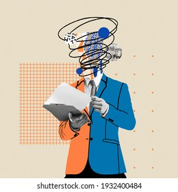 Preparing reports. Comics styled bright orange and blue suit. Modern design, contemporary art collage. Inspiration, idea concept, trendy urban magazine style. Negative space to insert your text or ad. - Shutterstock ID 1932400484