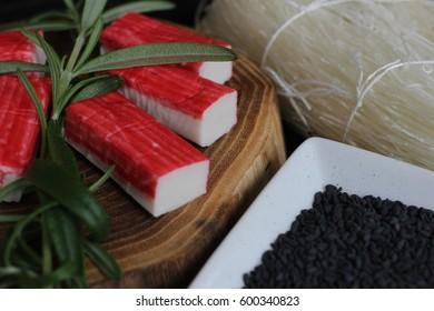 preparing sushi, making sushi, component for sushi, making japanese food, preparing japanese food,