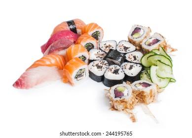 Preparing sushi. Set of sushi unagi and nigiri on white background