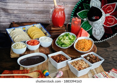 Preperation of fresh spanish mexican food with lots of veggies