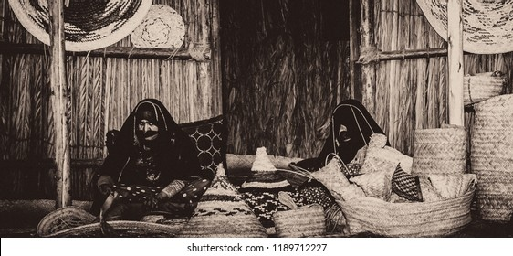 In the pre-Renaissance era, women in the UAE worked In handicrafts such as home accessories industry of palm fronds, Photographed in Sheikh Zayed Heritage Festival, Abu Dhabi, UAE On 23/11/2017