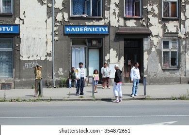 PREROV, CZECH REPUBLIC - JUNE 25, 2011: Ghetto in Prerov, Husova street with Gypsy residents, authentic real situations, Europe, EU