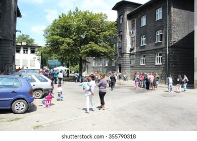 PREROV, CZECH REPUBLIC, JUNE 25, 2011: Ghetto in Prerov, Husova street with courtyard Gypsy residents, authentic real situations, Europe, EU