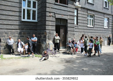 PREROV, CZECH REPUBLIC - JUNE 25, 2011: Ghetto in Prerov, Husova street with courtyard Gypsy residents, authentic real situations, Europe, EU