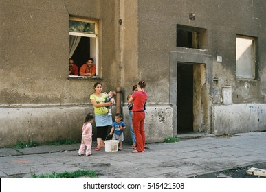 PREROV, CZECH REPUBLIC, JUNE 25, 2011: Ghetto in Prerov, Skodova street with Gypsy residents, authentic poor people family,