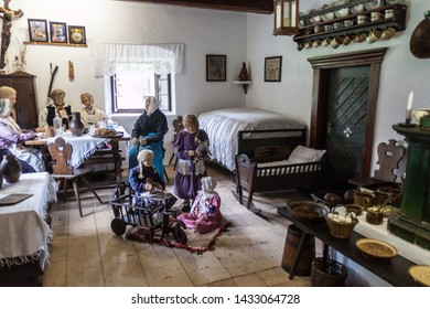 PREROV NAD LABEM, CZECH REPUBLIC - OCTOBER 9, 2015: Interior of a traditional regional village house in the Open-air museum in Prerov nad Labem, Czech Republic.