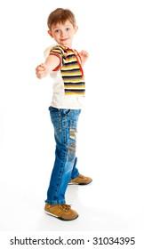 Preschool boy ready to defend himself