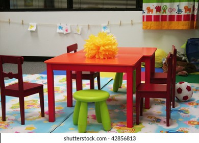 Preschool classroom with chairs and decoration