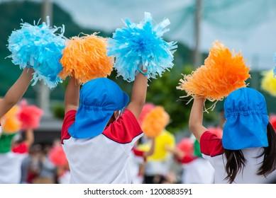 preschool kids cheering in japan annual Sports day