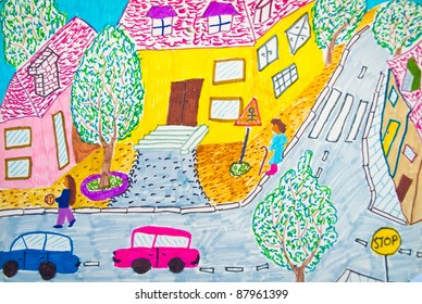 Preschool kid's painting