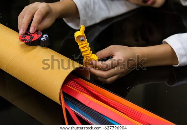Preschool Kindergarten Paper Crafts Summer Project Stock Photo (Edit