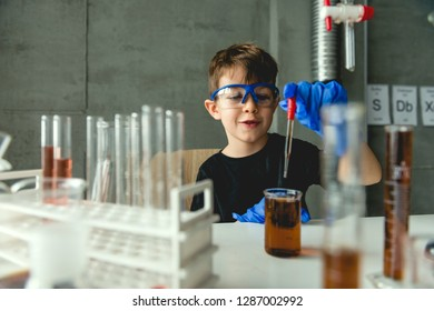 Preschool student in laboratory