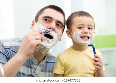 preschooler attempting to shave like his dad.