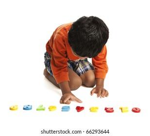 Preschooler Learning Numbers