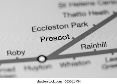 Prescot Station. Liverpool Metro map.