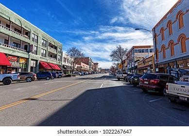Prescott Arizona 2018-02-03: Cortez Street downtown Prescott Arizona.