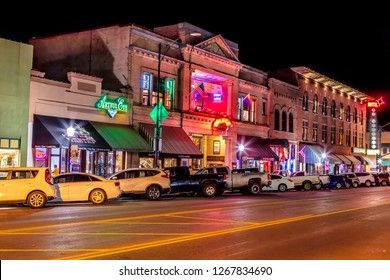 Prescott, Arizona – November 2, 2018: Historic Whiskey Row streetscape in Prescott Arizona photographed at night.
