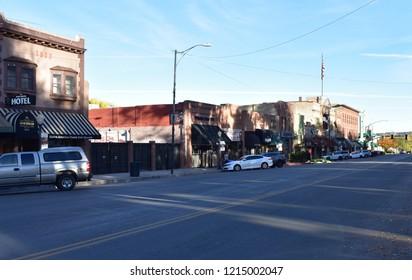 Prescott, Arizona - October 28, 2018: Downtown Historical district
